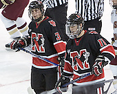 Ryan Ginand, Jimmy Russo - The Boston College Eagles defeated Northeastern University Huskies 5-3 on Saturday, November 19, 2005, at Kelley Rink in Conte Forum at Chestnut Hill, MA.