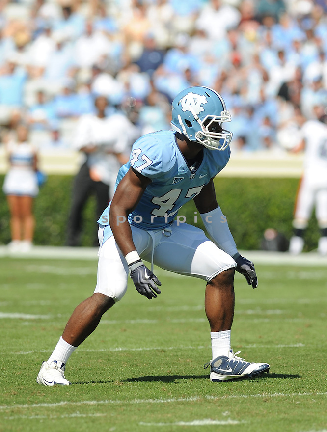 ZACH BROWN, of the University of North Carolina Tarheels in action during the Tarheels  game against the Virginia Cavaliers on October 3, 2009 in Chapel Hill, NC. Virginia won 16 - 3..