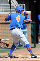 Florida Gators shortstop Nolan Fontana #4 awaits a pitch during a game against the Tennessee Volunteers at Lindsey Nelson Stadium, Knoxville, Tennessee April 14, 2012. The Volunteers won the game 5-4  (Tony Farlow/Four Seam Images)..