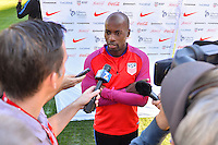 San Diego, CA - Saturday January 28, 2017: DaMarcus Beasley addresses the media during a USMNT press conference at Qualcomm Stadium.
