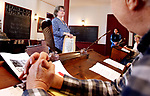 SOUTHBURY CT. 16 March 2018-031919SV02-Melissa Elliott explains how to be a docent during a workshop  at the historic Bullet Hill School house in Southbury Tuesday.<br /> Steven Valenti Republican-American