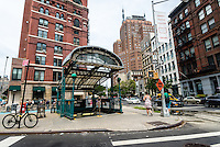 New York, NY 8 August 2015 Franklin Street Subway Kiosk in the TriBeCa neighborhood of Lower Manhattan