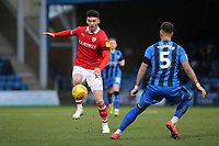 Kieffer Moore of Barnsley takes on Gillingham's Max Ehmer during Gillingham vs Barnsley, Sky Bet EFL League 1 Football at The Medway Priestfield Stadium on 9th February 2019