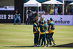 Corne Dry of South Africa celebrates with teammates during Day 1 of Hong Kong Cricket World Sixes 2017 Group A match between South Africa vs Pakistan at Kowloon Cricket Club on 28 October 2017, in Hong Kong, China. Photo by Yu Chun Christopher Wong / Power Sport Images