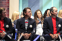USA Team Players Webb Simpson, Phil Mickelson and Matt Kuchar on stage at the Closing Ceremony after Sunday's Singles Matches of the 39th Ryder Cup at Medinah Country Club, Chicago, Illinois 30th September 2012 (Photo Colum Watts/www.golffile.ie)