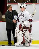 Joe Bertagna, Laura Bellamy (Harvard - 1) - The Harvard University Crimson defeated the Northeastern University Huskies 1-0 to win the 2010 Beanpot on Tuesday, February 9, 2010, at the Bright Hockey Center in Cambridge, Massachusetts.