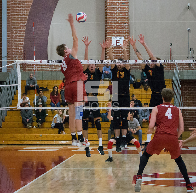 STANFORD, CA - December 30, 2017: Leo Henken, Eric Beatty at Burnham Pavilion. The Stanford Cardinal defeated the Calgary Dinos 3-1.