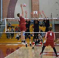 STANFORD, CA - December 30, 2017: Leo Henken, Eric Beatty at Burnham Pavilion. The Stanford Cardinal defeated the Calgary Dinos 3-1.