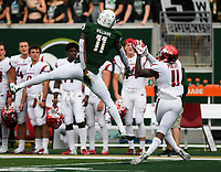 NWA Democrat-Gazette/CHARLIE KAIJO Arkansas Razorbacks defensive back Ryan Pulley (11) intercepts a pass intended for Colorado State Rams wide receiver Preston Williams (11) during the first quarter of a football game, Saturday, September 8, 2018 at Colorado State University in Fort Collins, Colo.