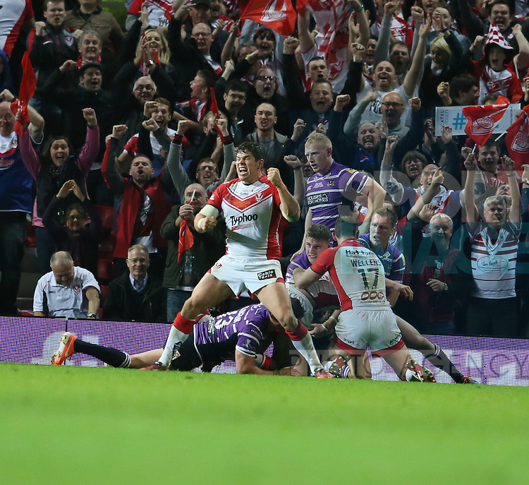 St Helens Louie McCarthy Scarsbrook celebrates St Helens Sia Soliolas try- First Utility Super League Grand Final - St Helens v Wigan Warriors - Old Trafford Stadium - Manchester - England - 11th October 2014 - Pic Paul Currie/Sportimage
