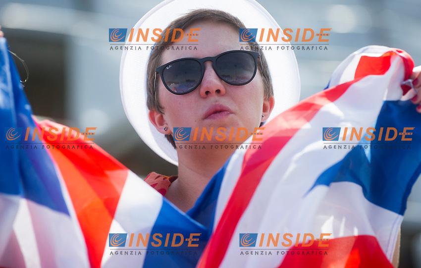 An English supporter<br /> Women's 1m springboard preliminaries<br /> 15th FINA World Aquatics Championships<br /> Barcelona 19 July - 4 August 2013<br /> Piscina Municipal de Montjuic, Barcelona (Spain) 21/07/2013 <br /> &copy; Giorgio Perottino / Deepbluemedia.eu / Insidefoto