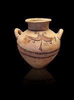 Mycenaean pot with cycladic style design , Grave Circle B, Mycenae 17-16thj Cent BC. National Archaeological Museum Athens.  Black Background<br /> <br /> Bichromatic Cycladic style Mycenaean pot depicting birds. Cat No 8615