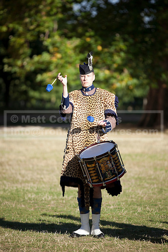 12/09/2012. LONDON, UK. A drummer from the Pipes and Drums of the London Scottish Regiment plays in Hyde Park London today (12/09/12) during a taster of some of the acts taking part in the 2012 British Military Tournament. The theme of this year's tournament, involving all arms of the British military, is the life and times of Her Majesty the Queen and takes place at Earls Court in London on the 8th and 9th of December. Photo credit: Matt Cetti-Roberts