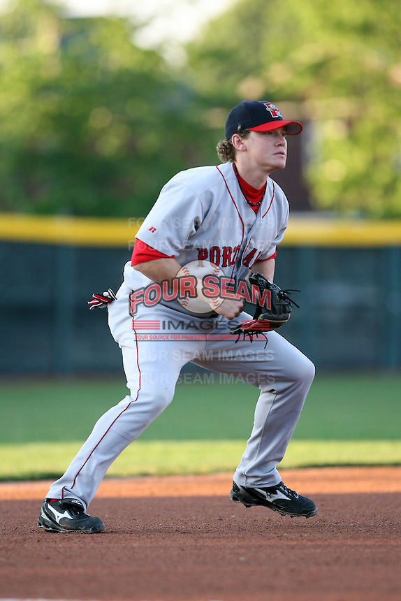 June 10th 2008:  Third baseman Andrew Pinckney (30) of the Portland Seadogs, Class-AA affiliate of the Boston Red Sox, in action during a game at Jerry Uht Park in Erie, PA.  Photo by:  Mike Janes/Four Seam Images