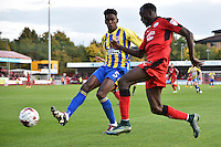 Omar Beckles of Accrington Stanley (5) and Bobson Bawling of Crawley Town (17) during the Sky Bet League 2 match between Crawley Town and Accrington Stanley at Broadfield Stadium, Crawley, England on 22 October 2016. Photo by Edward Thomas / PRiME Media Images.