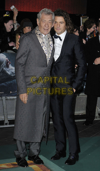 LONDON, ENGLAND - DECEMBER 01: Sir Ian McKellen &amp; Orlando Bloom attend the &quot;The Hobbit: The Battle of the Five Armies&quot; world film premiere, Odeon Leicester Square cinema, Leicester Square, on Monday December 01, 2014 in London, England, UK. <br /> CAP/CAN<br /> &copy;Can Nguyen/Capital Pictures