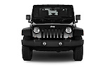 Car photography straight front view of a 2014 Jeep Wrangler Rubicon 5 Door SUV