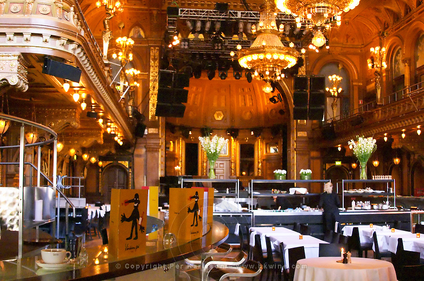 The decorated gilded interior of the restaurant Berns Salonger also used for performances and conferences with its wine bar to the left. Stockholm, Sweden, Sverige, Europe
