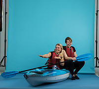 Erin Bastian (left) and Bex Band (right) photographed in the studio. They are running a company dedicated to getting rid of Plastic in waterways called Paddle Pickup. Paddle Pickup was put together by adventurers Bex Band and Erin Bastian who wanted to do something about an issue that really upset them &ndash; ocean pollution.<br /> Plastic is a huge contribution to debris in our seas, yet can easily be reduced just by human habit. So they decided it was time for a change and to shout about what they cared about, in the best way they know how&hellip;.adventure!