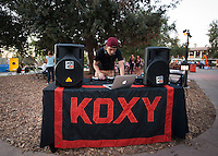 KOXY DJ plays music, Tiger Tailgate, Academic Quad. The Occidental College football team plays for a 21-14 win over Claremont-Mudd-Scripps on Homecoming Night at Jack Kemp Stadium on Saturday Oct. 25, 2014.<br /> (Freelance, photo by Kirby Lee)