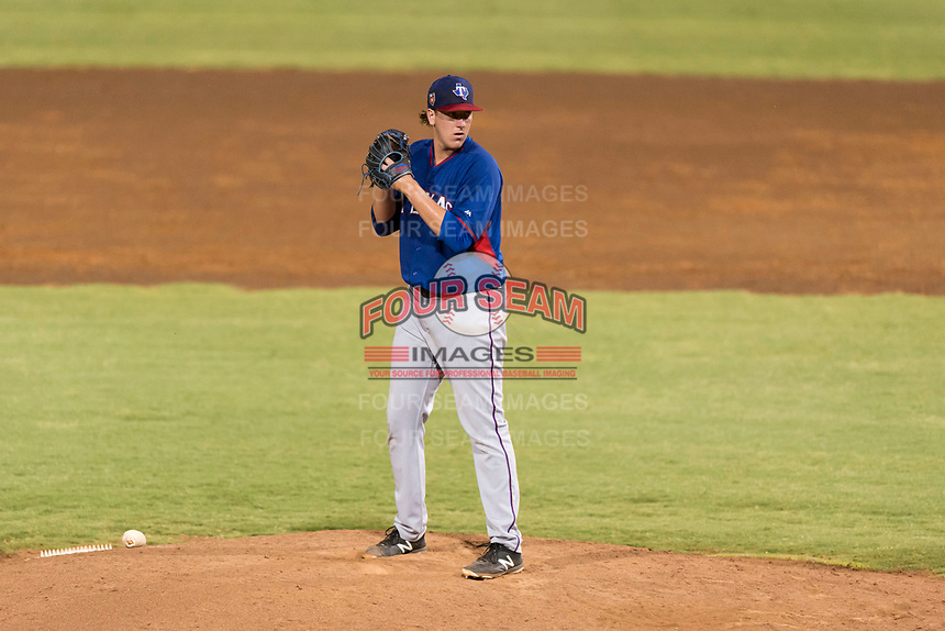 AZL Rangers relief pitcher Dylan Bice (87) gets ready to deliver a pitch during an Arizona League playoff game against the AZL Indians 1 at Goodyear Ballpark on August 28, 2018 in Goodyear, Arizona. The AZL Rangers defeated the AZL Indians 1 7-4. (Zachary Lucy/Four Seam Images)