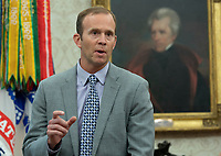 Federal Emergency Management Agency Director Brock Long speaks during a briefing on Hurricane Florence at The White House in Washington, DC,  September 11, 2018. <br /> CAP/MPI/RS<br /> &copy;RS/MPI/Capital Pictures