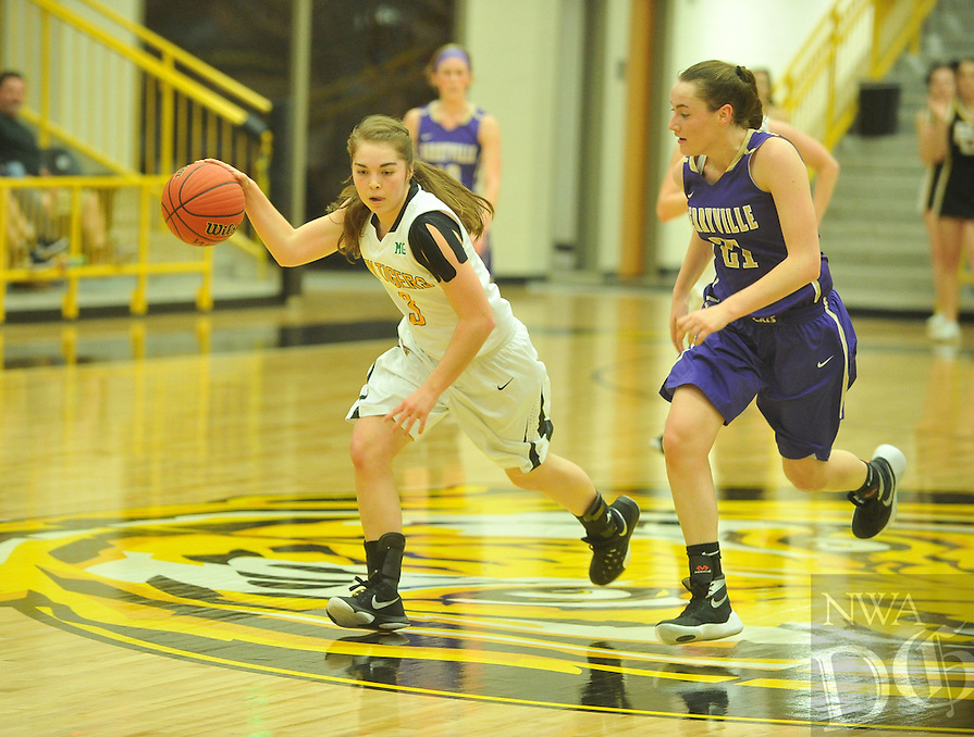 NWA Democrat-Gazette/MICHAEL WOODS • @NWAMICHAELW<br /> Prairie Grove vs Berryville during the girls 4A-1 District Tournament in Prairie Grove Saturday February 20, 2016.  Visit nwadg.com/photos to see more photographs from the game.