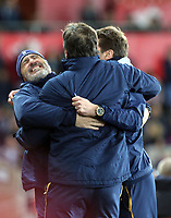 Mauricio Pochettino and colleagues celebrate one of their team's goals during the Premier League match between Swansea City and Tottenham Hotspur at The Liberty Stadium, Swansea, Wales, UK. Wednesday 05 April 2017