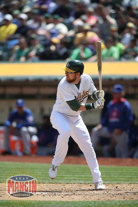 OAKLAND, CA - APRIL 9:  Ben Zobrist #18 of the Oakland Athletics bats against the Texas Rangers during the game at O.co Coliseum on Thursday, April 9, 2015 in Oakland, California. Photo by Brad Mangin