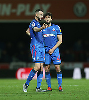 Bolton Wanderers' Marc Wilson and Jason Lowe in discussion<br /> <br /> Photographer Rob Newell/CameraSport<br /> <br /> The EFL Sky Bet Championship - Brentford v Bolton Wanderers - Saturday 22nd December 2018 - Griffin Park - Brentford<br /> <br /> World Copyright © 2018 CameraSport. All rights reserved. 43 Linden Ave. Countesthorpe. Leicester. England. LE8 5PG - Tel: +44 (0) 116 277 4147 - admin@camerasport.com - www.camerasport.com