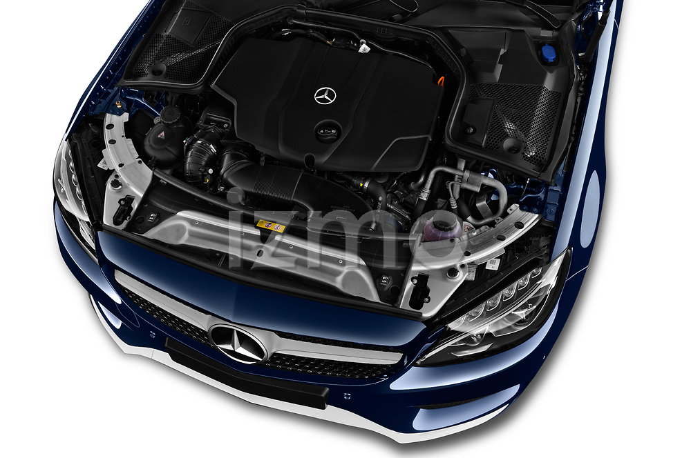 Car Stock 2017 Mercedes Benz C-Class AMG-Line 2 Door convertible Engine  high angle detail view