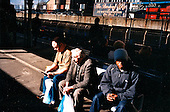 Passengers wait for underground train in East London ..Picture taken 2005 by Justin Jin