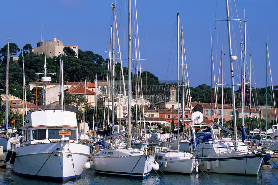 Europe/Provence-Alpes-Côte d'Azur/83/Var/Iles d'Hyères/Ile de Porquerolles: Le village, le port et le Fort Sainte-Agathe en fond - Bateau de plaisance