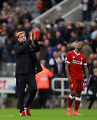 1st October 2017, St James Park, Newcastle upon Tyne, England; EPL Premier League football, Newcastle United versus Liverpool; Jurgen Klopp Manager of Liverpool thanks the travelling fans with Georginio Wijnaldum of Liverpool showing his frustration in the background after the 1-1 draw