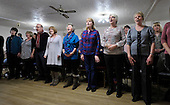 Soundroutes choir rehearsals - Motherwell - limbering up for the music - breathing excercise and the first musical Ahhhhhh of the night – picture by Donald MacLeod 13.2.12 www.donald-macleod.com clanmacleod@btinternet.com