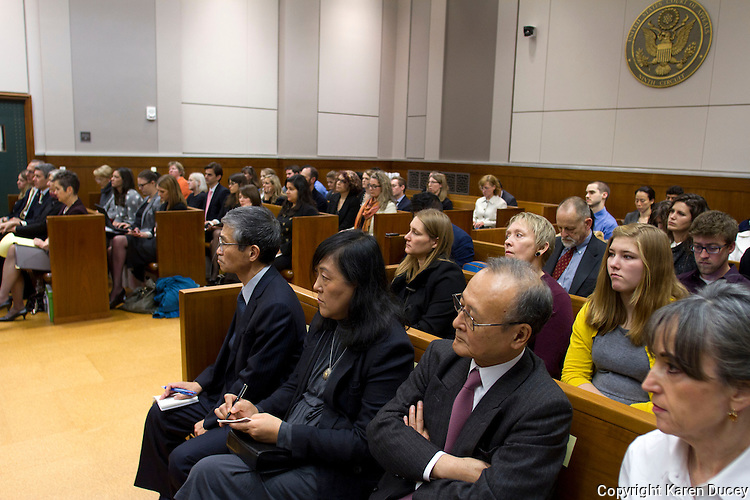 From left to right: Makoto Ito, President of Kyodo Senpaku Kaisha, Ltd; Kayo Ohmagari, Assistant Director of Institute of Cetacean Research; and R. Iwosaki, Japanese Counsel for the plaintiffs and their attorney M. Christie Helmer from Miller-Nash LLP watch the contempt proceedings against Paul Watson and the Sea Shepherd Conservation Society in the United States Court of Appeals, Ninth Circuit in Seattle, Washington on November 6, 2013.  The Japanese whalers, researchers and other Japanese seafood business leaders claim Watson and the Sea Shepherd ships disrupted their whale hunt in the Southern Ocean during the 2012-2013 whaling season violating an injunction they brought up against him issued by the court last December. (copyright Karen Ducey/KarenDucey.com)