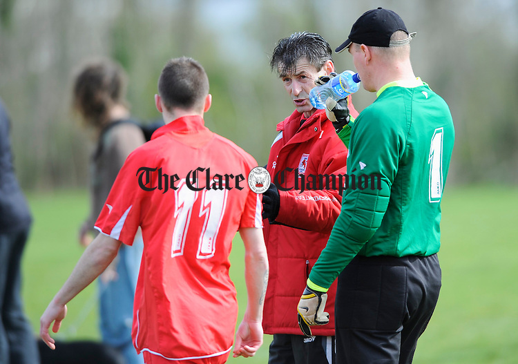 Mick Kennedy lays down the law for his Lifford A charges at half time during their Junior Cup game at Lees Road. Photograph by John Kelly.