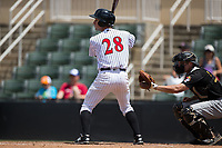 Grant Massey (28) of the Kannapolis Intimidators at bat against the West Virginia Power at Kannapolis Intimidators Stadium on June 18, 2017 in Kannapolis, North Carolina.  The Intimidators defeated the Power 5-3 to win the South Atlantic League Northern Division first half title.  It is the first trip to the playoffs for the Intimidators since 2009.  (Brian Westerholt/Four Seam Images)