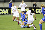 02 December 2011: Duke's Mollie Pathman (24) and Wake Forest's Marisa Park (15, foreground). The Duke University Blue Devils defeated the Wake Forest University Demon Deacons 4-1 at KSU Soccer Stadium in Kennesaw, Georgia in an NCAA Division I Women's Soccer College Cup semifinal game.