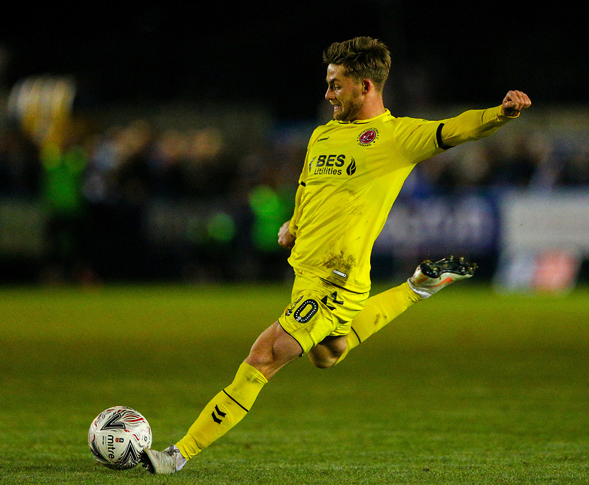 Fleetwood Town's Conor McAleny shoots at goal<br /> <br /> Photographer Alex Dodd/CameraSport<br /> <br /> The Emirates FA Cup Second Round - Guiseley v Fleetwood Town - Monday 3rd December 2018 - Nethermoor Park - Guiseley<br />  <br /> World Copyright © 2018 CameraSport. All rights reserved. 43 Linden Ave. Countesthorpe. Leicester. England. LE8 5PG - Tel: +44 (0) 116 277 4147 - admin@camerasport.com - www.camerasport.com