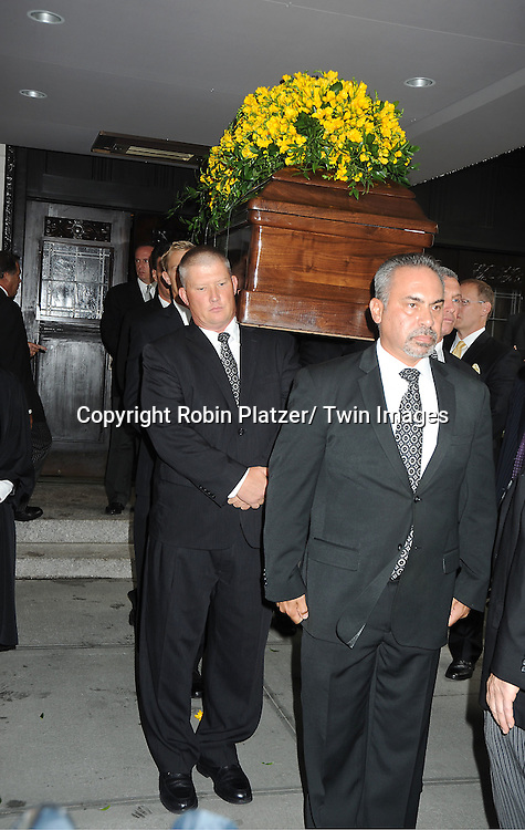 The casket at  Marvin Hamlisch's funeral on August 14, 2012 .at Temple Emanuel in New York City.