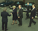 Archive Picture. In the final days of the Good Friday Agreement, members of the media join George Mitchel and Mo Mowlam outside Block B Castle Buildings, Stormont, Belfast, Northern Ireland, April, 1998. Photo/Paul McErlane Photography