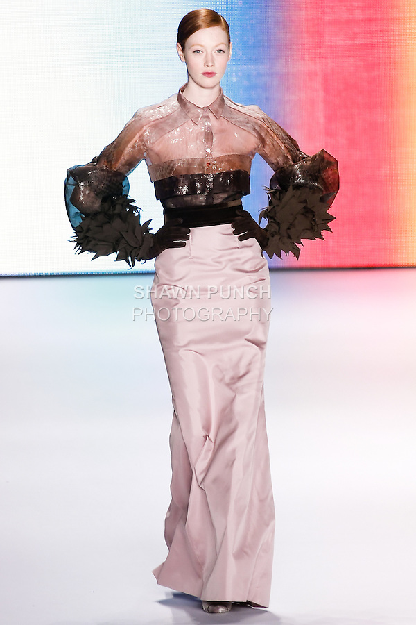 Chantal Stafford-Abbott walks runway in an outfit from the Carolina Herrera Fall 2011 collection, during Mercedes-Benz Fashion Week Fall 2011.