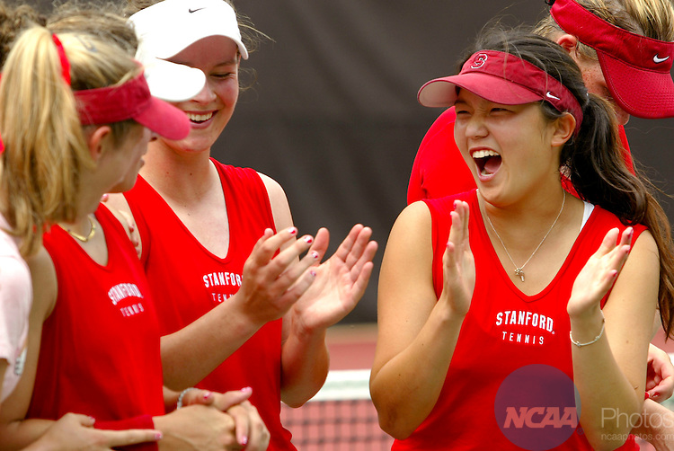 22 MAY 2005: Amber Liu of Stanford celebrates with teammates after winning the Division 1 Women's Tennis Championship held at the Dan Magill Tennis Center at the University of Georgia in Athens. Liu won her singles match 6-3, 6-3 against Petra Dizdar of Texas as Stanford defeated Texas by a score of 4-0 to take home the team title for the second straight year.  Trevor Brown, Jr./NCAA Photos