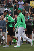 February 2nd 2019, Scottsdale, Arizona, USA; Rickie Fowler walks with his caddie after teeing off on the first hole on the third round of the Waste Management Phoenix Open on February 02, 2019, at TPC Scottsdale in Scottsdale, AZ.