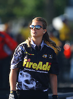 Jun 10, 2016; Englishtown, NJ, USA; Crew member for NHRA top fuel driver Leah Pritchett during qualifying for the Summernationals at Old Bridge Township Raceway Park. Mandatory Credit: Mark J. Rebilas-USA TODAY Sports