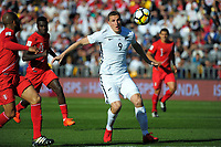 New Zealand's Chris Wood in action during the 2018 FIFA World Cup Russia first-leg playoff football match between the NZ All Whites and Peru at Westpac Stadium in Wellington, New Zealand on Saturday, 11 November 2017. Photo: Mike Moran / lintottphoto.co.nz