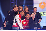F1 drivers Pedro Martinez de la Rosa (C) and Marc Gene (L) and TV presenter Antonio Lobato take a `selfie´photo with their cellphone during the F1 World Championship 2014-15 season in A3 TV channel in A3media building in Madrid, Spain. March 6, 2014. (ALTERPHOTOS/Victor Blanco)