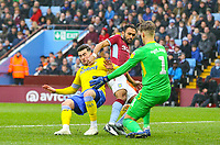 Leeds United's Jack Harrison sees his shot blocked by Aston Villa's Orjan Nyland and Ahmed Elmohamady<br /> <br /> Photographer Alex Dodd/CameraSport<br /> <br /> The EFL Sky Bet Championship - Aston Villa v Leeds United - Sunday 23rd December 2018 - Villa Park - Birmingham<br /> <br /> World Copyright &copy; 2018 CameraSport. All rights reserved. 43 Linden Ave. Countesthorpe. Leicester. England. LE8 5PG - Tel: +44 (0) 116 277 4147 - admin@camerasport.com - www.camerasport.com