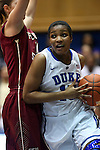 22 February 2013: Duke's Richa Jackson (15) and Florida State's Leonor Rodriguez (ESP) (left). The Duke University Blue Devils played the Florida State University Seminoles at Cameron Indoor Stadium in Durham, North Carolina in a 2012-2013 NCAA Division I and Atlantic Coast Conference women's college basketball game. Duke won the game 61-50.